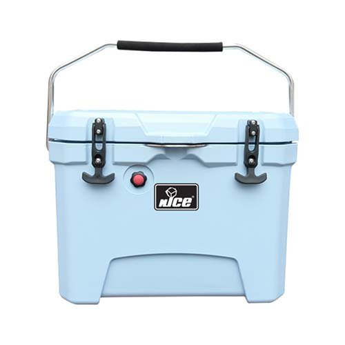 26 quart ice cooler in light blue with bottle opener, cup holders and air tight lid