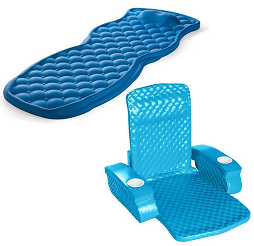 2 inch foam floating loungers, with folding chair and padded pillow