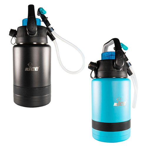 1 gallon portable keg with 2 pour sports in black and aqua