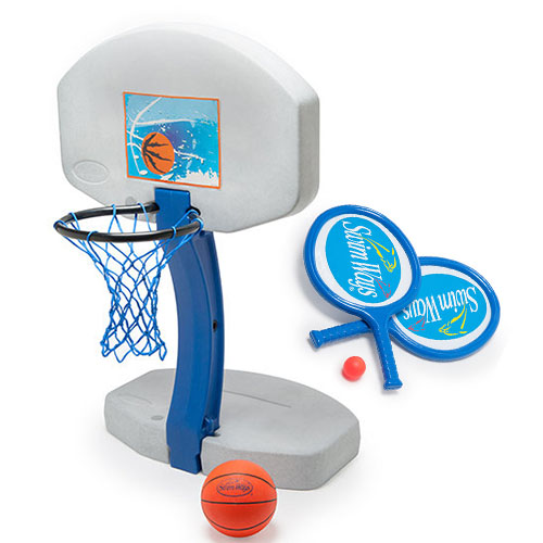 Three in one basketball hop, volleyball net and paddle ball set