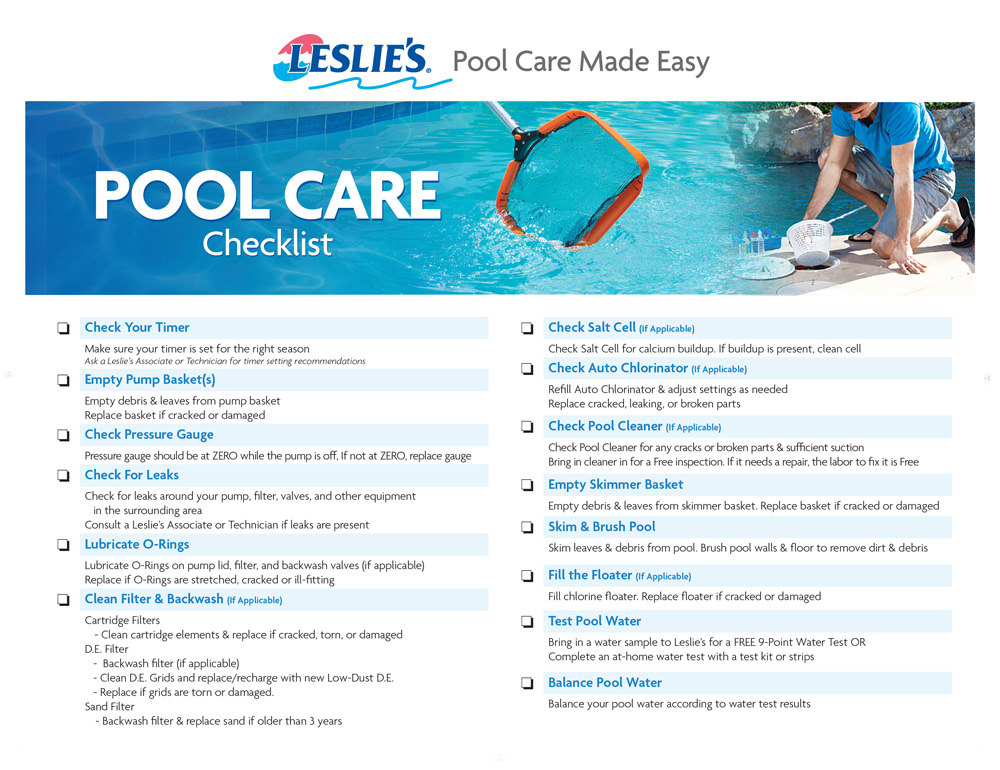 Leslie's Pool Care Checklist