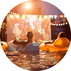 movie night in the swimming pool