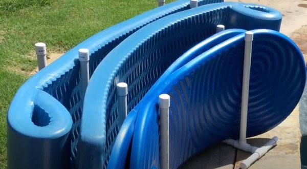 Foam lounges in PVC storage rack