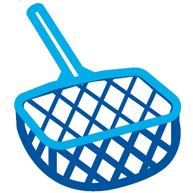 Use a pool leaf rake to remove debris