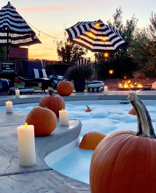 Halloween Pool Pumpkins Bubbles and Candles