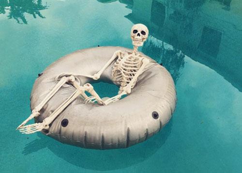 Skeleton In a Pool Float