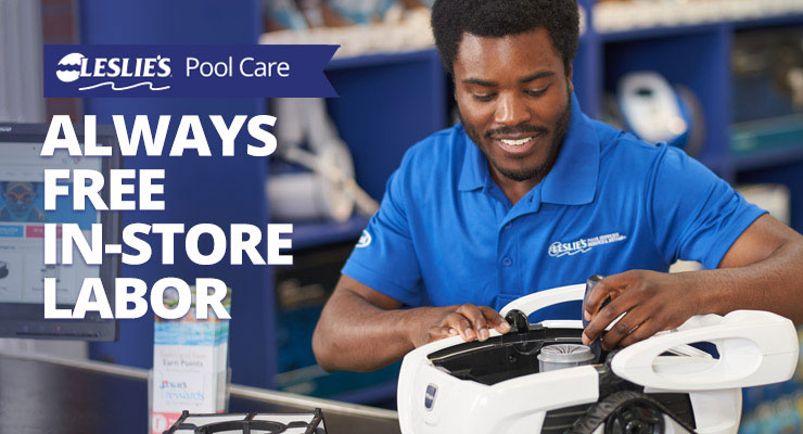 Leslie's offers Free In-Store Labor on pool equipment repairs