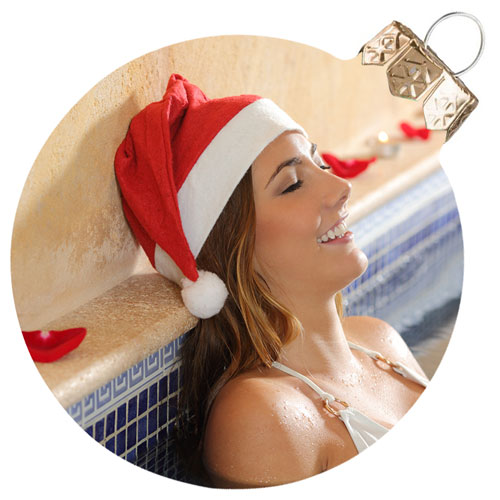 holiday pool and spa with Santa hat