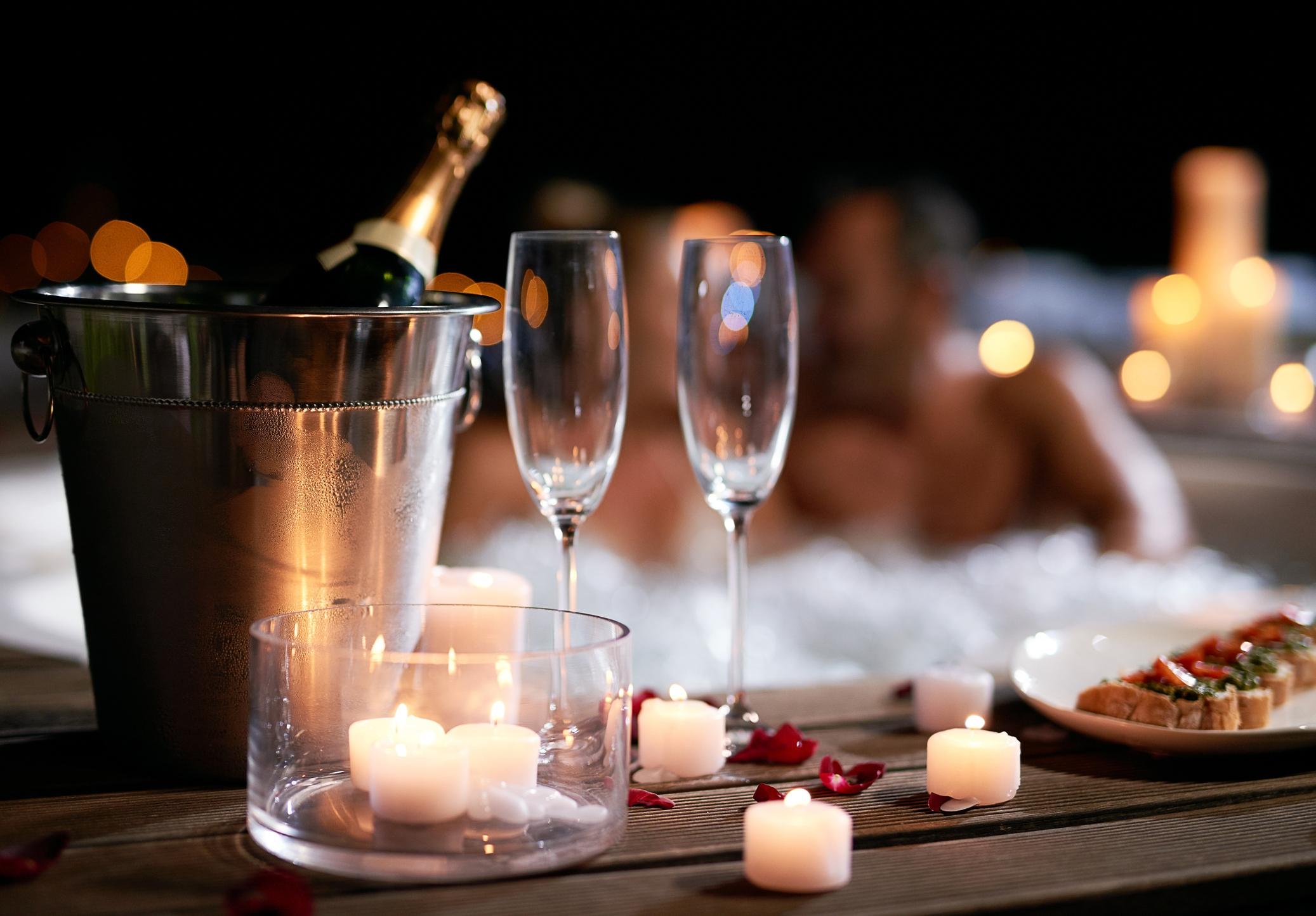 Romantic Hot Tub Setting