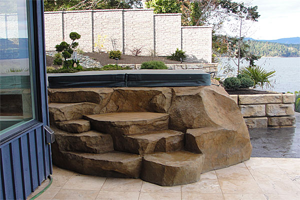hand carved concrete spa steps, faux stone