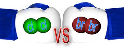 chlorine vs. bromine