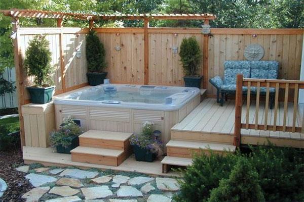 hot tub deck wood surround, off master bedroom