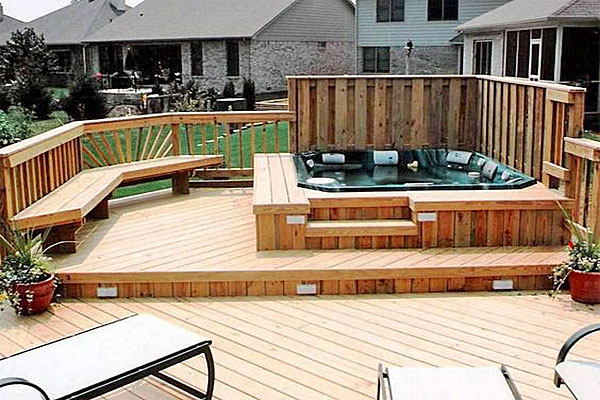 wood hot-tub-surround and deck with seating and privacy wall