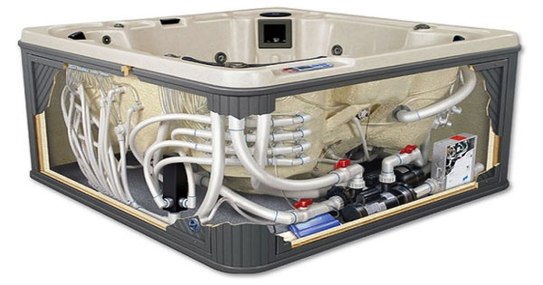 hot tub cutaway showing internal hot tub spa parts