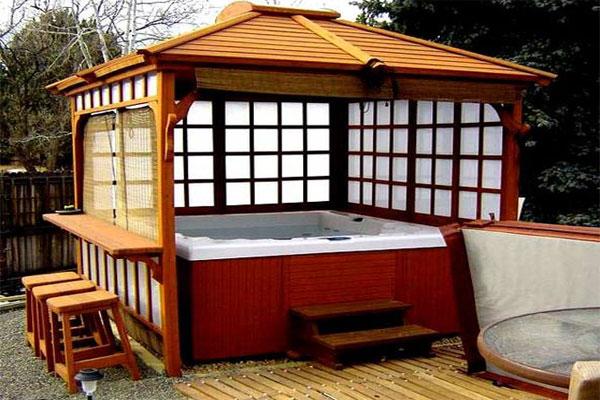 Hot tub gazebo, classic Japanese Hot House style