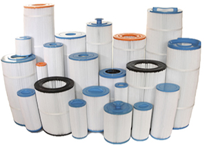 Group of 20 spa filters of different sizes