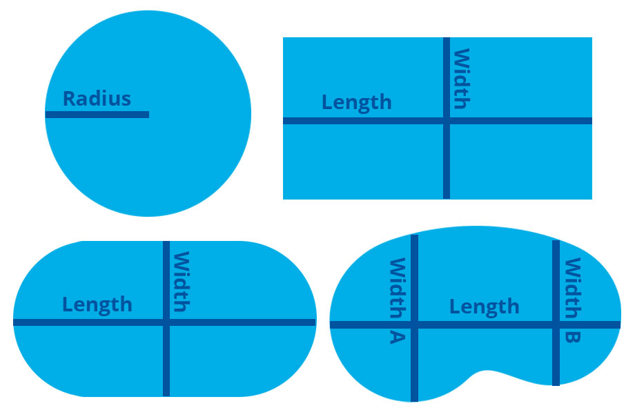 pool volume measurements for round, rectangular, oval, and kidney shaped pools