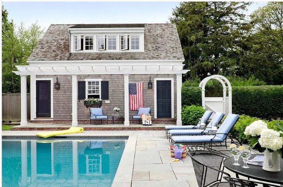 American Flag on poolhouse