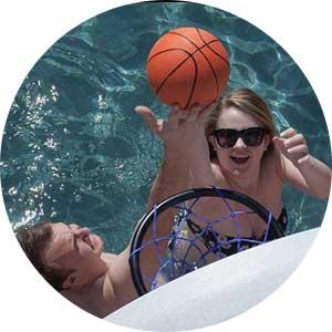 swimming pool basketball game