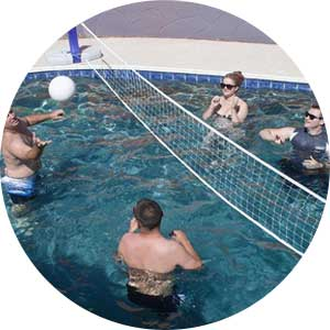 volleyball game in swimming pool